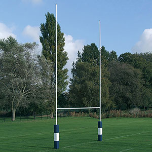 NO.2A HINGED STEEL RUGBY POSTS C/W 4 X ADAPTOR