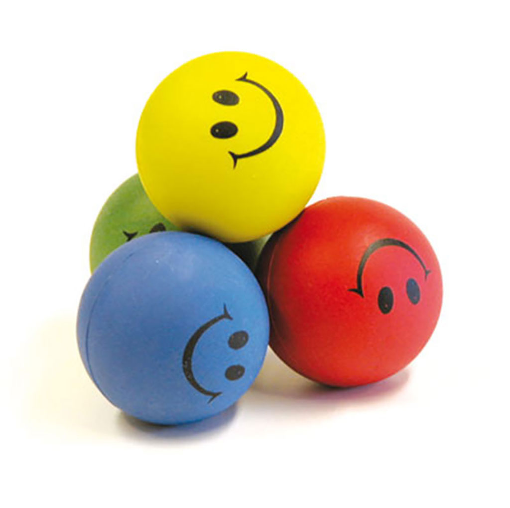 RUBBER SPONGE HAPPY FACE BALL