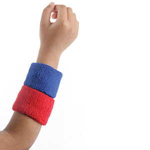 PAIR OF WRIST BANDS RED AND BLUE