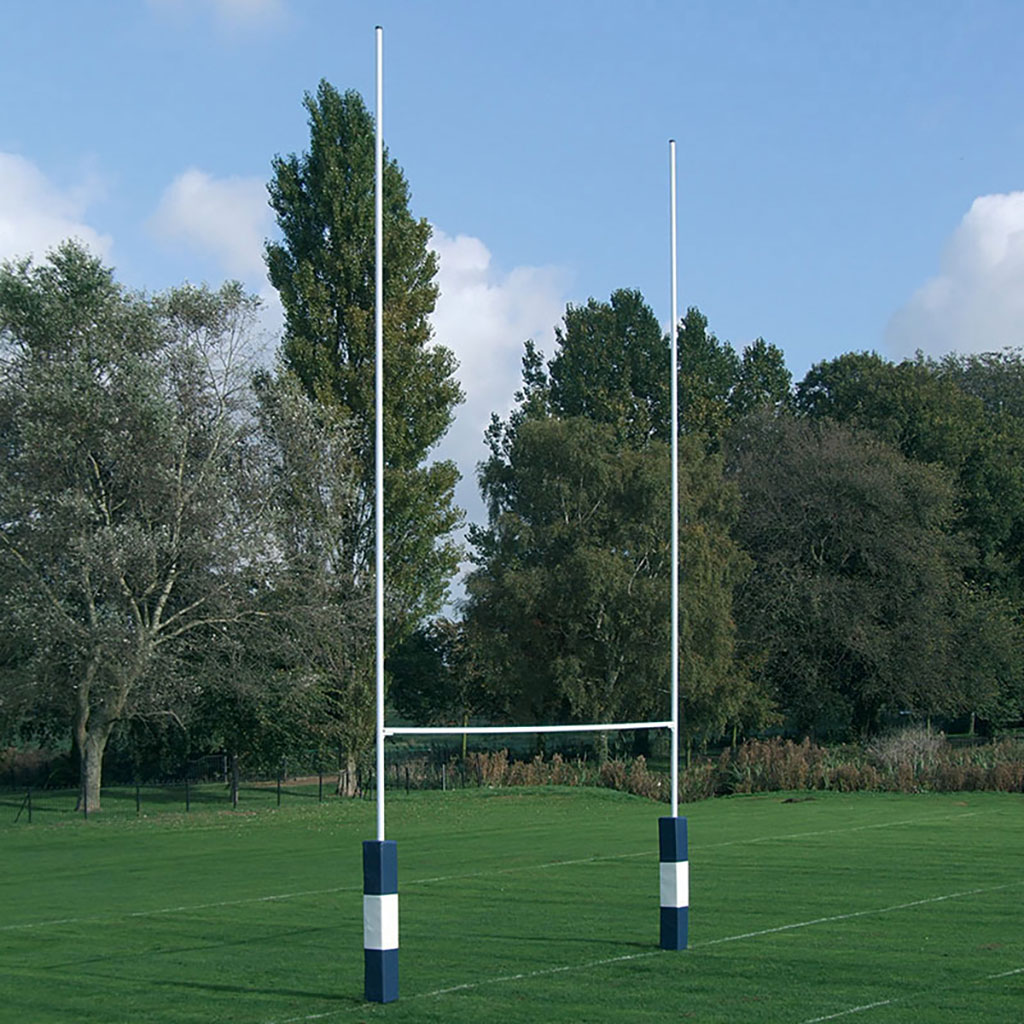NO.2 HINGED STEEL RUGBY POSTS C/W 4 X ADAPTOR