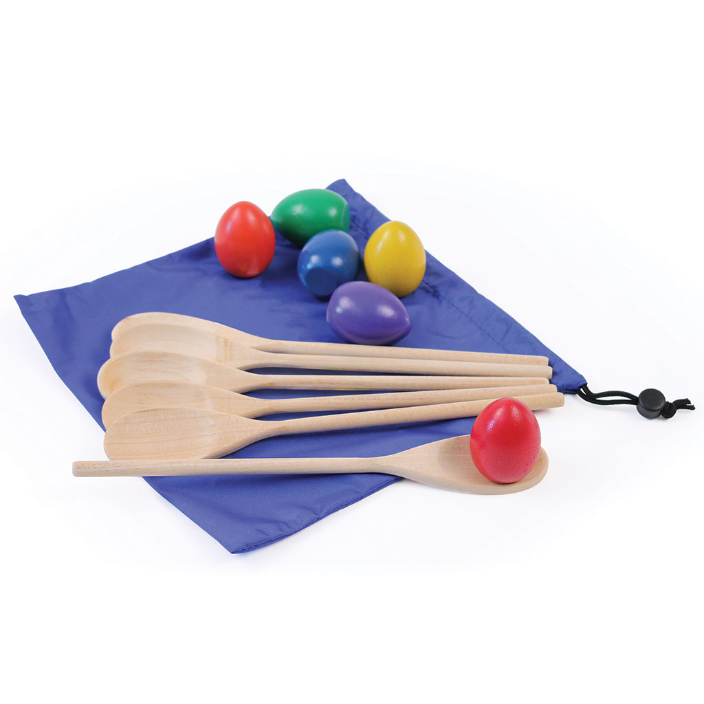 COLOURED EGG AND SPOON SET